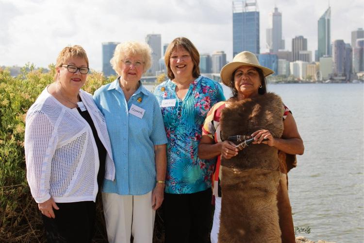 Former treasurer Margaret Wilson, original member Constance Teague, president Cherie Toovey and traditional owner Whadjuk elder Kerry-Ann Winmar at South Perth foreshore.