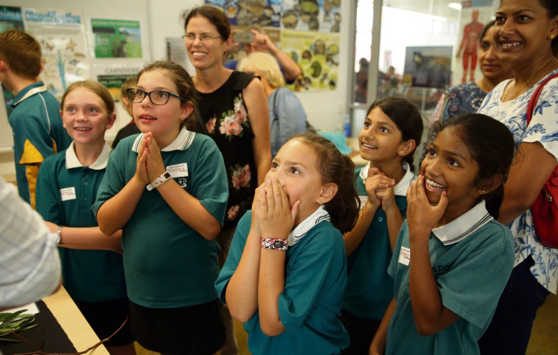 Junior scientists visiting Joseph Banks Secondary College. Photo: Martin Kennealey