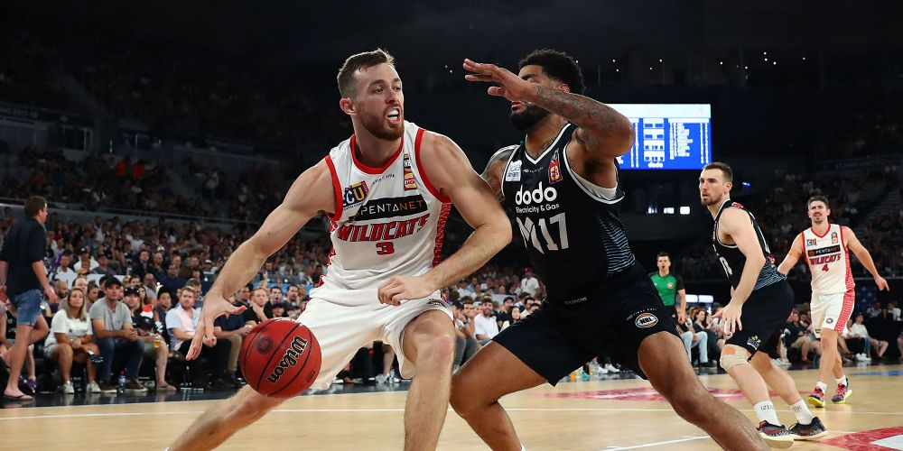 Nick Kay under defensive pressure against Melbourne United on February 17. Picture: Getty Images