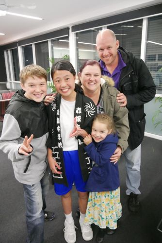 The Prendergast family with Japanese exchange student Ayane Sekido.