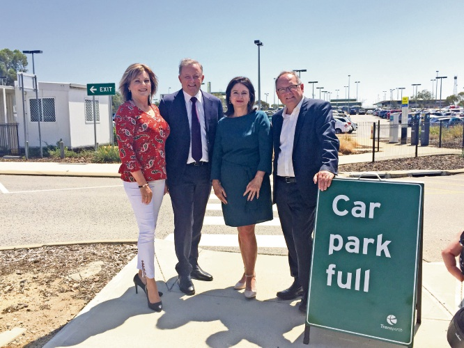 Shadow Infrastructure and Transport Minister Anthony Albanese (second left) with Murray Wellington MLA Robyn Clarke, Canning Labor candidate Mellisa Teede and Mandurah MLA David Templeman at the station car park.