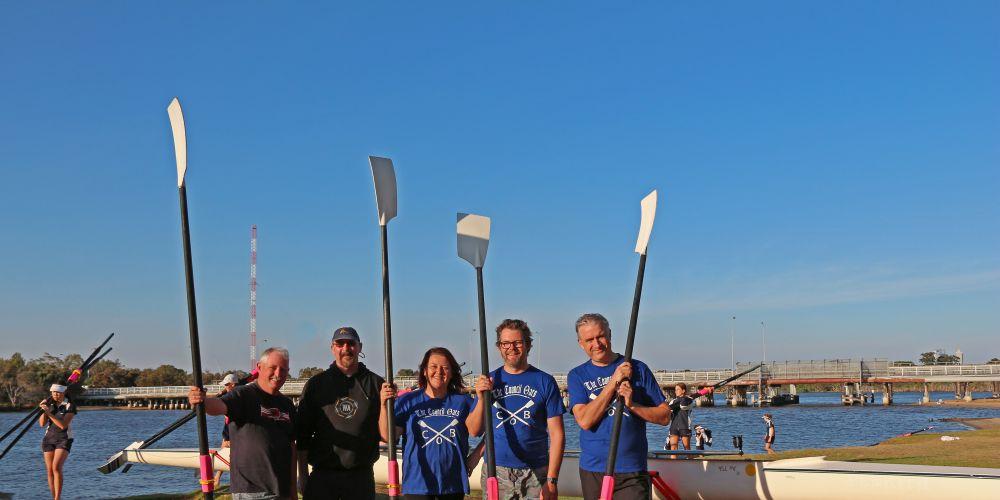 Bayswater councillor Barry McKenna, rowing coach Lawrence Bourke, Cr Catherine Ehrhardt, Mayor Dan Bull and Deputy Mayor Chris Cornish.