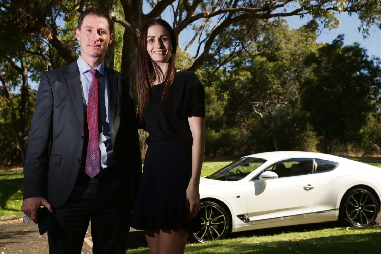 James Hammond (Sales Manager Bentley Perth) and Madi Kyle (Marketing Manager Bentley Perth) Continental GT Coupe 2019 in background Picture: Andrew Ritchie www.communitypix.com.au   d490986