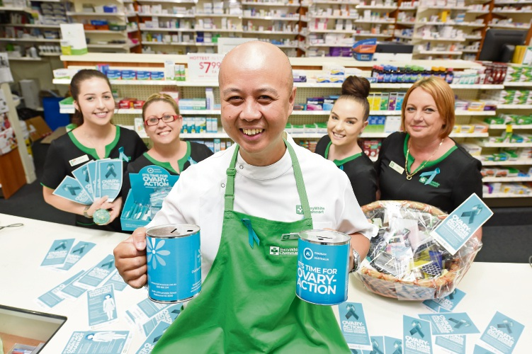 Pharmacist Manny Ungat with Brooke Cardwell,Tennelle Northam, Jessica Kynaston and Sharon Daniels will be fundraising for ovarian cancer research.