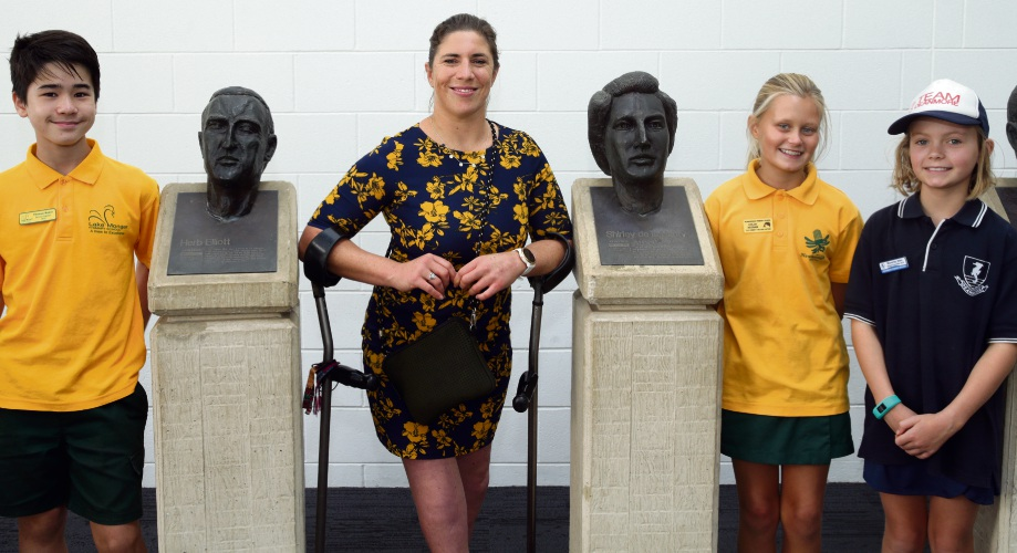 Paralympic swimmer Katrina Porter with Thomas Baker ( Y6 Newborough PS), Chloe Keenan (y6 Newborough PS) and Waverley Allen (Deanmore PS). Photo: Martin Kennealey