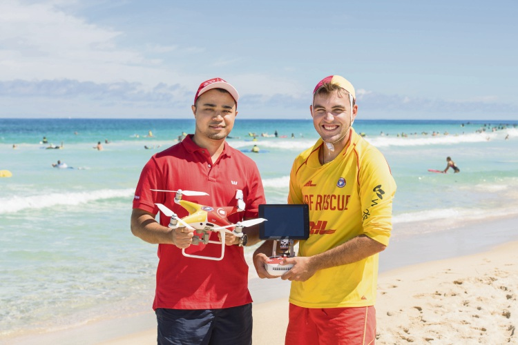 Westpac Life Saver Drone Program. (From left) Westpac's Gajen Karmacharya (left) and drone pilots Adam Pierce photographed at Trigg Beach on 23 February, 2019 in Perth, Australia (copyright 1826)  Photo supplied.