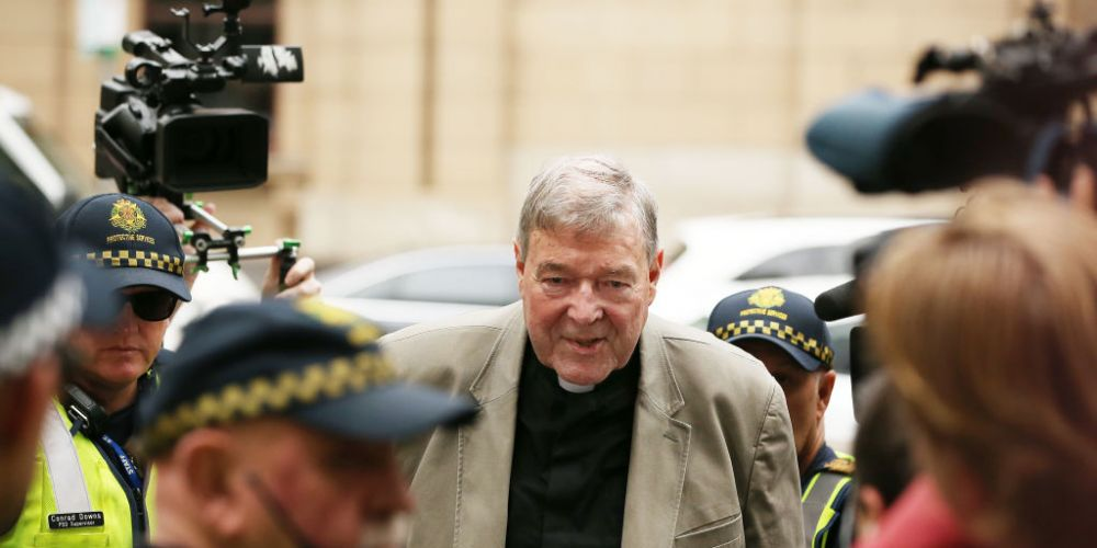 Cardinal George Pell outside court. Picture: Michael Dodge/Getty Images