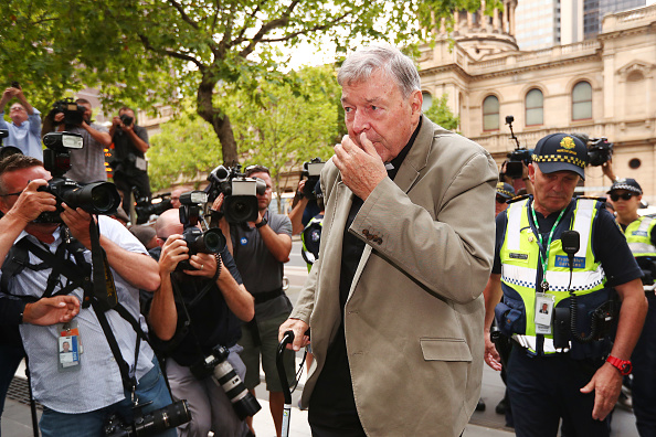 Cardinal George Pell arrives at the Victorian County Court yesterday. Photo: Michael Dodge/Getty