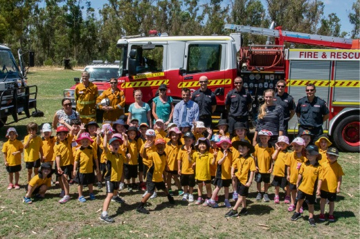 Forrestdale PS students and staff with visiting firefighters.