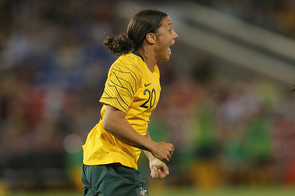 Sam Kerr of Australia celebrates a goal during the International Women's Friendly match between the Australian Matildas and Chile.  Picture: Ashley Feder/Getty Images
