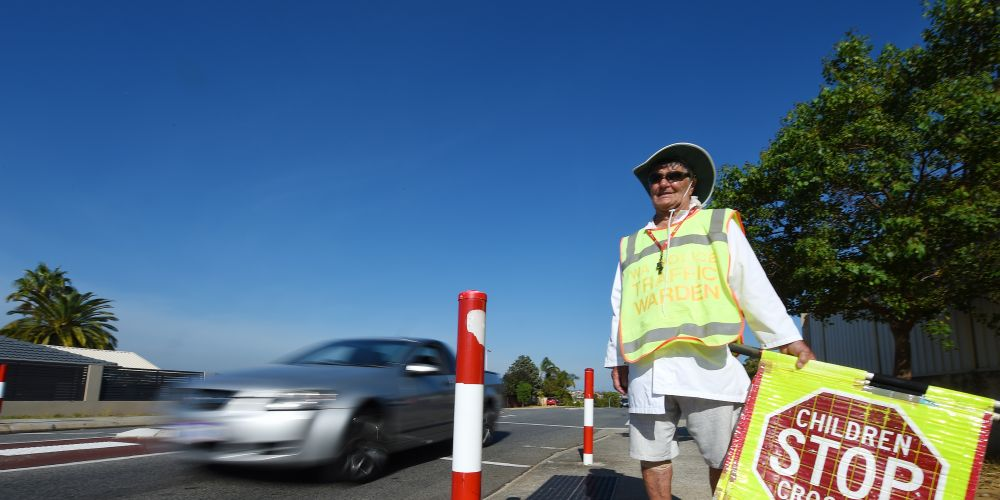 Nick Skender at the Barrington Street crossing. Photo: Jon Hewson. d491036 communitypix.com.au.