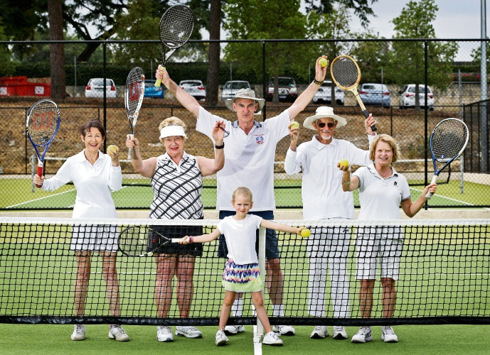 (L-R): South Perth Lawn Tennis Club members Vere Berger, Keeva Verschoor, president Mark O'Connor, long-term member Max Francis  and Jeanette McPhee. FRONT: Youngest club member Simona Costine (6). Picture: David Baylis