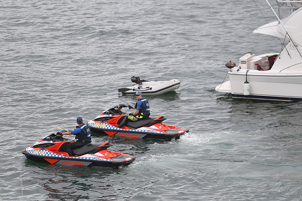 NSW Police officers on jetskis. Picture: Brett Hemmings/Getty Images