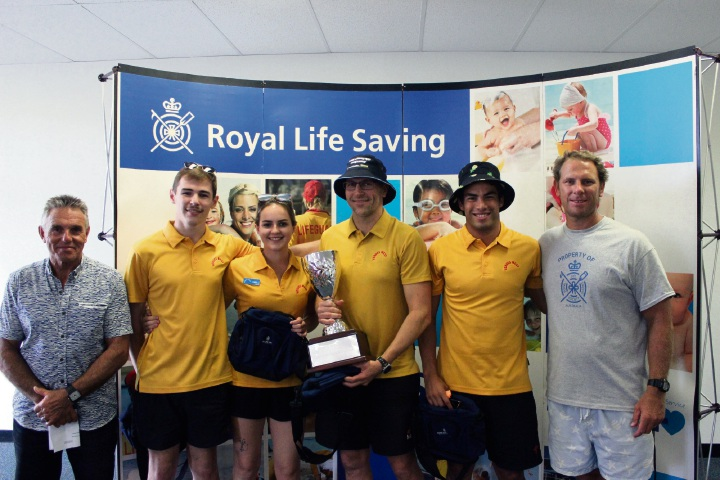 LIWA president Jeff Fondacaro, Lewis Downes, Leigha Wood, Kieren Lawrenson, Paolo Da Silva and Royal Life Saving WA chief executive Peter Leaversuch.