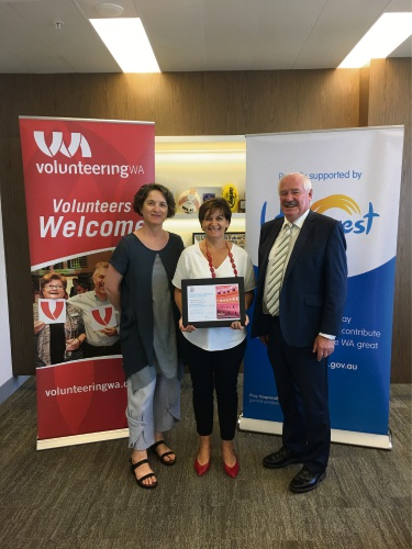 Lotterywest Senior Grants Development Officer Lee Grmas, Volunteering WA chief executive Tina Williams and Minister for Volunteering Mick Murray