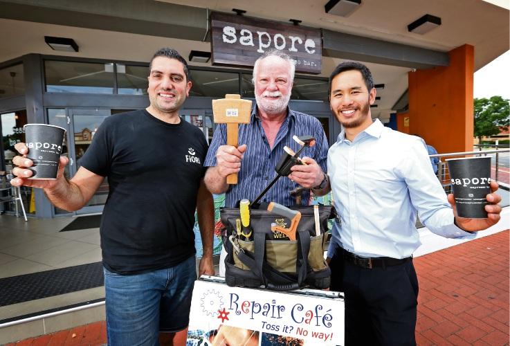 Sapore Espresso Bar owner Mario Fisicchia, volunteer repairer Bruce Galbraith and Repair Café organiser Fred Goh adding community spirit with the first Repair Café Belmont. Picture: David Baylis