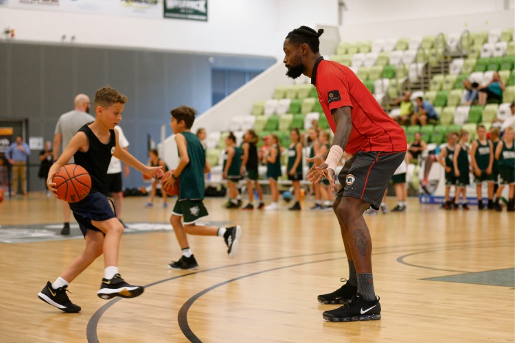 Terrico White in a drill at Joondalup Basketball Stadium.