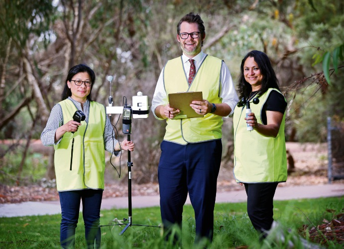 Dr Mary Myla Andamon, Cr Dan Bull (Mayor, City of Bayswater) and Associate Professor Priya Rajagopalan, seen here with the testing and recording equipment.   Dr Mary Myla Andamon and Associate Professor Priya Rajagopalan are from RMIT University (Sustainable Building Innovation Lab, School of Property, Construction and Project Management). Photo: David Baylis