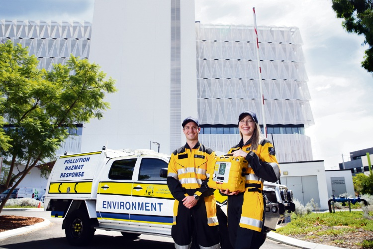 Pollution response officers Matt Peers and Lara Saunder at the new headquarters in Joondalup. Picture: Martin Kennealey d491196