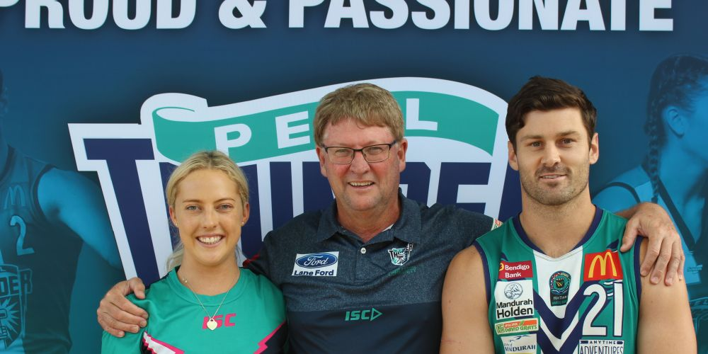 Peel Thunder player Georgia Perry, men's league coach Cam Shepherd and community development officer Ben Howlett.