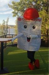 The Community News Mascot Mr Newsie will be at the Family Fun Zone.