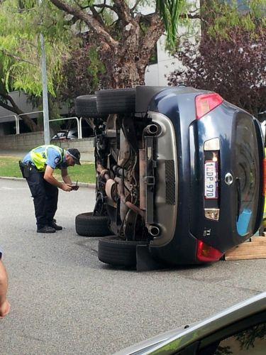 Car rollover on Ord St, West Perth. Picture: Max Wilson
