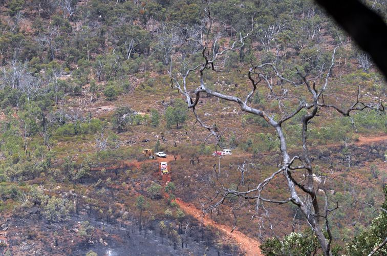 Firefighters in Walyunga National Park. Photo: Martin Kennealey