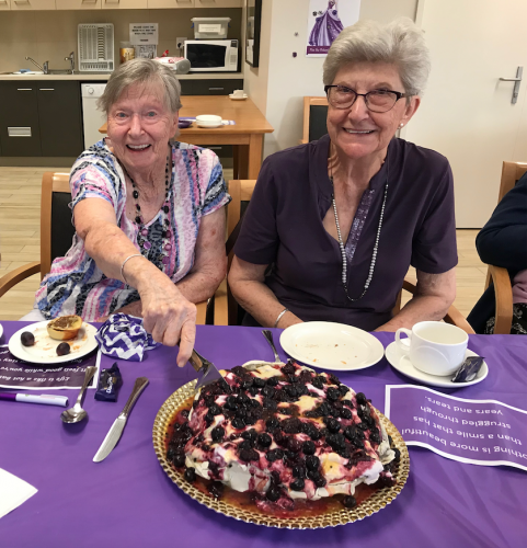Gloria Sweeney and Nell Branchi at Bethanie on the Park's Purple Week event.