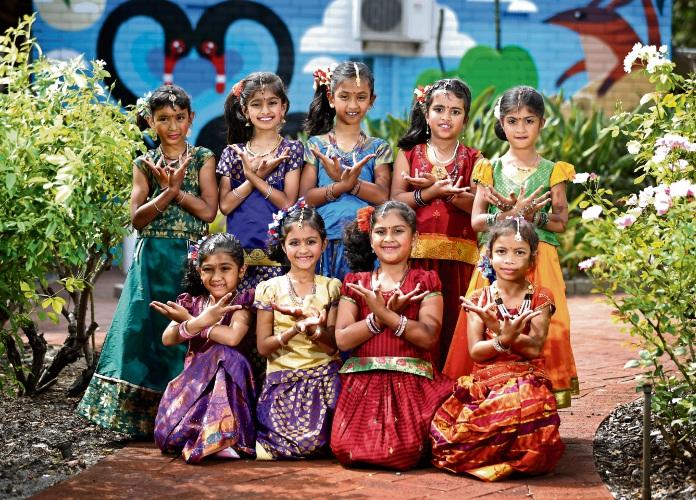 Burrendah Primary School students (back) Fiona, Aleena, Sahasra, Aleesha, Sheasha, (front)Aaradhya, Merin, Emilia and Pranavi will be performing an iconic folk dance from the Indian state of Andhra Pradesh. Picture: David Baylis