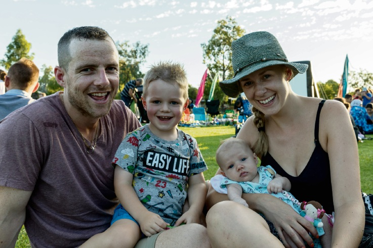 Niall, Aileen, Myles and Isla Flaherty enjoy Movie in the Park