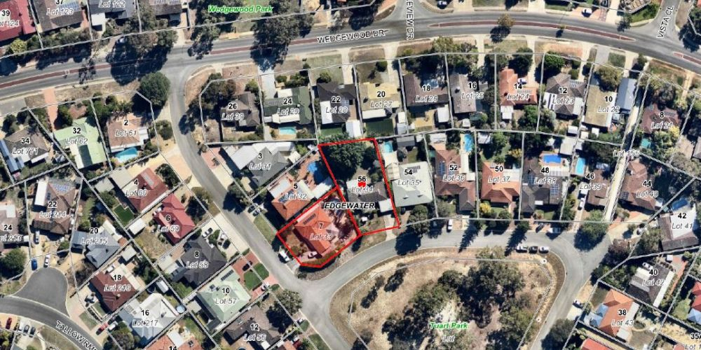 An aerial view of the Tuart trail development site.