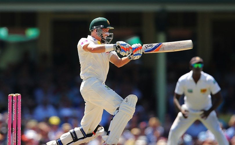 Michael Hussey batting against Sri Lanka in Sydney in his final Test for Australia. Picture: Getty  Images
