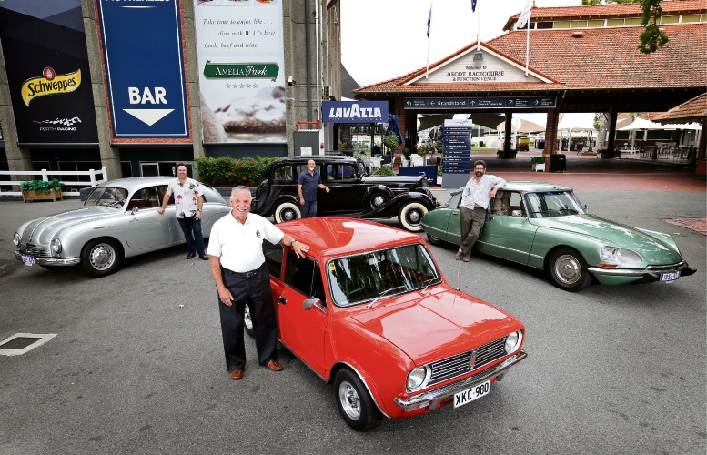 L-R: Shannon's Classic Car Show organiser Paul Markham with his silver 1952 Tatraplan, Mini Owners Club member Rob Rowe with his 1975 Mini Clubman, Buick owner Murray Lizatovich and Citroen owner James Long. Picture: David Baylis www.communitypix.com.au d490956