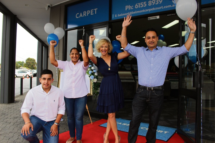 Angad Singh, Carpet Court Belmont owners Ritu and Jeet Singh with The Block host Shelley Craft.
