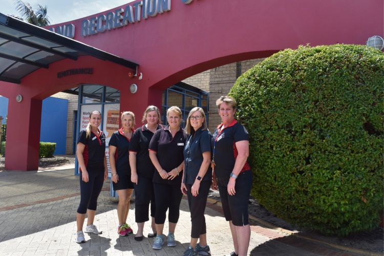YMCA Morley Sport and Recreation Centre's Shelly Hall, Lorena Townsend, Hayley Morich, Lee Lazarus, Mary Bonnar and Rhonda Watson. Picture: Kristie Lim