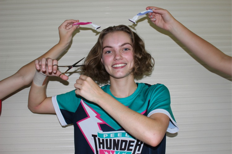 Peel Thunder player taking part in World's Greatest Shave