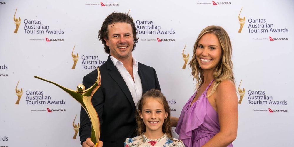 Mandurah family Troy, Sophie and Mia Thomas celebrate three gold medals at the Australian Tourism Awards.