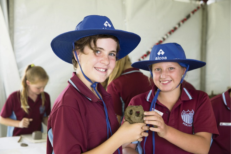 Pinjarra Primary School students Tiarna Arrowsmith and Kaylan Peters at the Alcoa Schools Education Program.