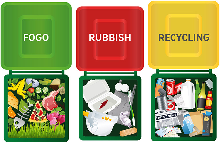 An example of what goes in each bin, as part of the FOGO system.