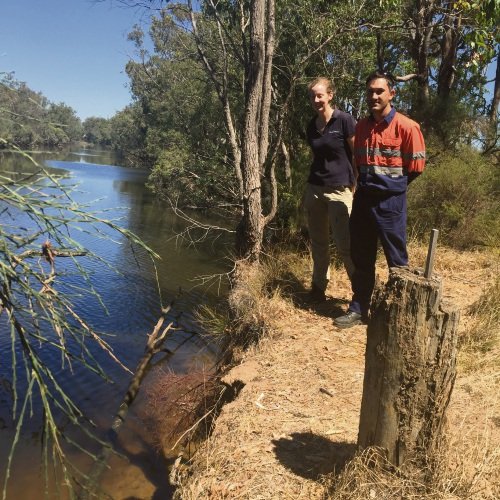 Greening Australia senior project officers Bayden Smith and Christine Allen on the Murray River, where the logs will be installed.