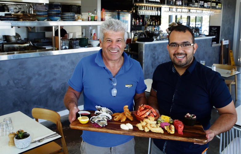 Oceans 27 cafe owner George Bartell and manager Vinnie Borsoti will be part of the Shorehaven Seafood Festival.