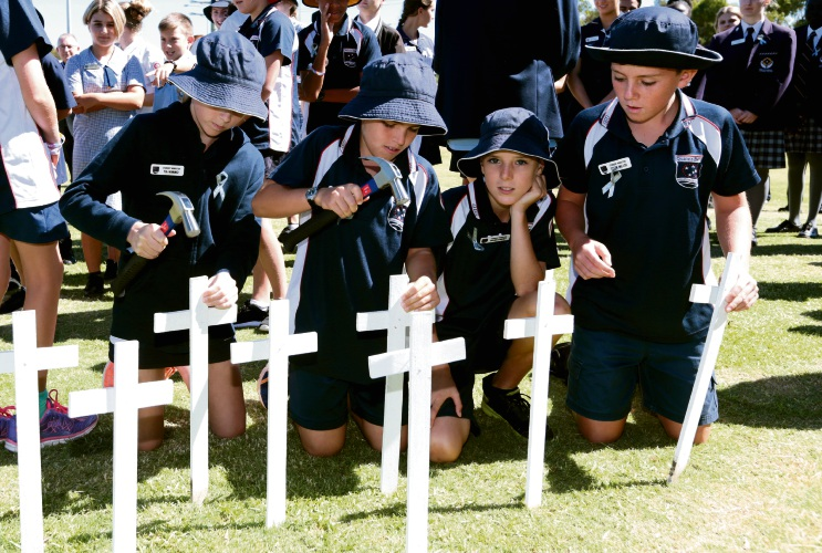 Quinns Beach Primary School students at the 2018 Blessing of the roads ceremony. Picture: Martin Kennealey