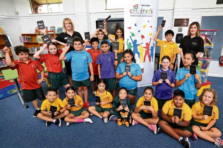 Morley Primary School students with their new Learning Passports, part of ECU's Children''s University. Picture: David Baylis