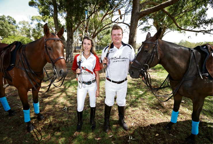 Kalamunda siblings Hannah Gebbie (right) with her horse Mr Pomme and her brother Andrew Gebbie with his horse Darcy. Photo: David Baylis