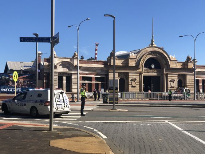 Fremantle train station this morning. Photo: Andrew Ritchie.