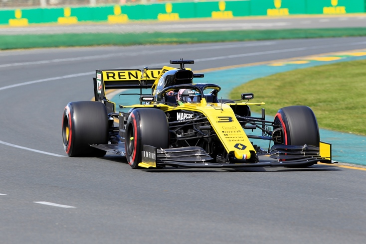 First corner of first lap in first practice session for Daniel Ricciardo in new Renault team car. Picture: Barnsiesphotos