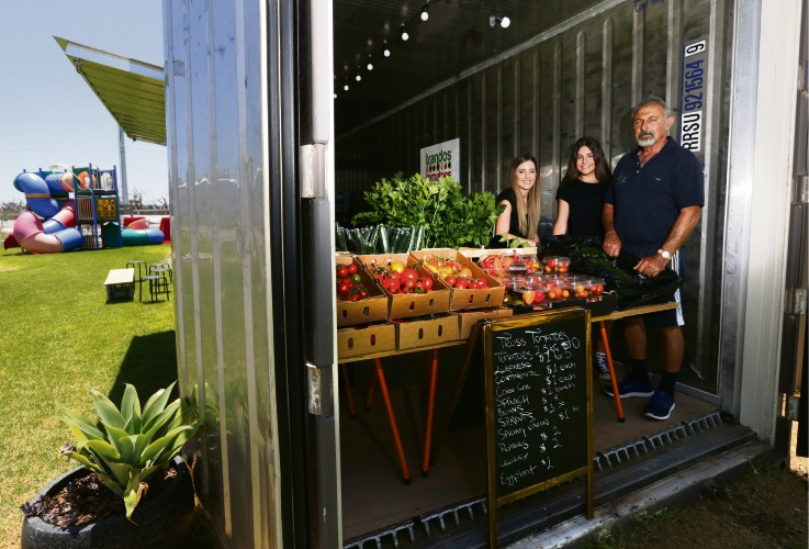 Harry, Holly and Natasha Trandos at the family's farm shop, which will be one of the tour stops. Picture: Martin Kennealey d489589