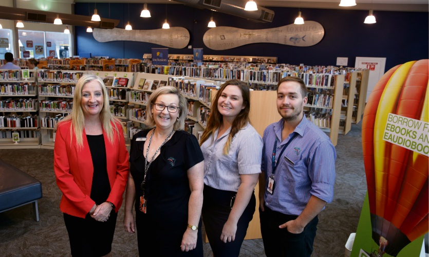Wanneroo Mayor Tracey Roberts, Clarkson librarian Cate Kershaw and library services officers Jess Parsons and Michael Prockter. Picture: Martin Kennealey d491457