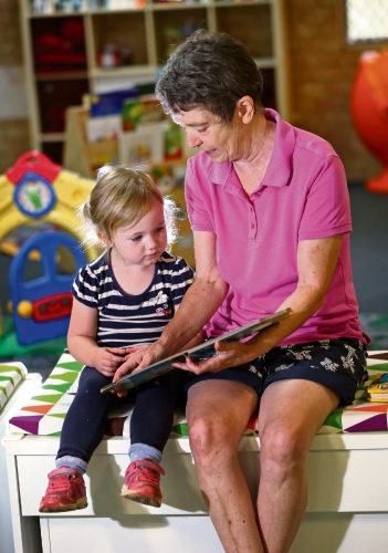 Jenny Wall with her granddaughter Matilda Beck at the Parkerville Playgroup Grand Parents Group. Picture: David Baylis