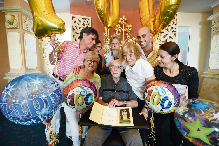 Regents Garden Aged Care resident Gerardus Woerlee with his family on his 100th birthday. Picture: Jon Hewson